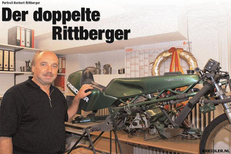 Herbert Rittberger en een fabrieks Van Veen Kreidler die ooit bereden werd door Eugenio Lazzarini..