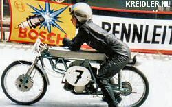 Zijn eerste race, een bergrace in Stadtsteinach met 9,5 pk sterke motor dankzij de Florett racekit.