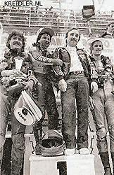 1979 werd Lazzarini met de door Rittberger getunede motor wereldkampioen en haalde hij zijn tuner op het podium. Daarnaast links Stefan Dörflinger en rechts Rolf Blatter.