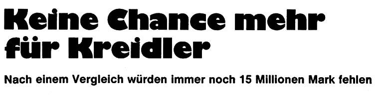 Geen kansen meer voor Kreidler. Na het faillissement zal er nog altijd een tekort zijn van 15 miljoen mark.