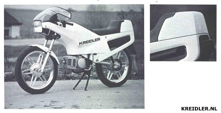 Wat er was gekomen als Kreidler in de race was gebleven: een stoere machine met liggende motor en sterk gebogen windscherm en de snelle achterkant die in Amsterdam bij de jonge bezoekers met onverdeeld enthousiasme werd ontvangen.