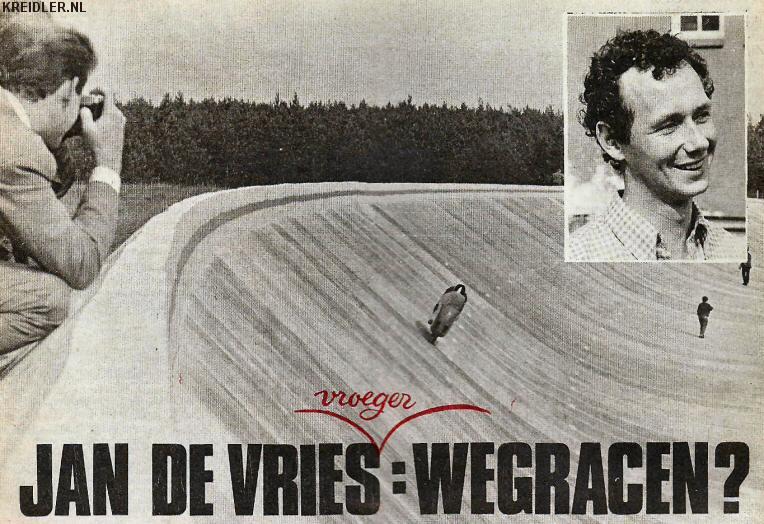Jan de Vries in 1967 als recordjager voor Kreidler, een rondje van 187 km/uur!