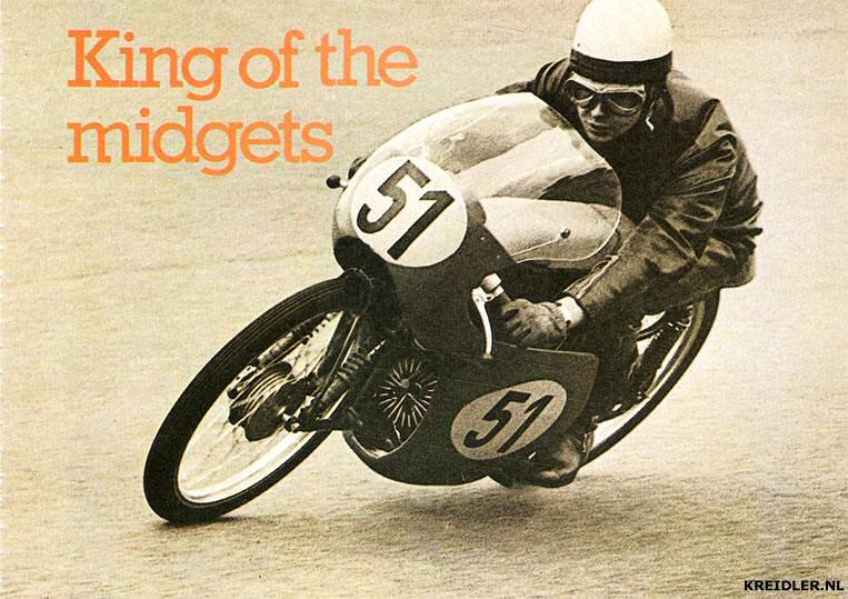 Hans-Georg Anscheidt, winnaar van de Coupe d'Europe 1961 op Zandvoort, op zijn 50cc Kreidler.