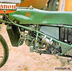 Close up van het 50cc motortje dat gebruikt werd in de Van Veen Kreidler Grand Prix racer in 1973.