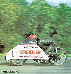 Kreidler fabrieksrijder Aalt Toersen bracht dit recordbrekertje mee naar Engeland in 1968 en vestigde er een aantal nieuwe snelheidsrecords mee.