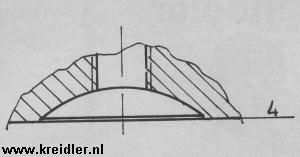 Afb. 4. De simpelste kopconstructie, zo op het oog. Hij wordt toch toegepast in snelle machines, maar kan daarbij voor detonatie-problemen zorgen. Ook hier kan met de bougie gewerkt worden.