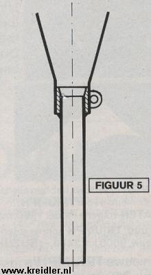 Figuur 5. Tailpipeconstructie waarbij door een vulbusje elke diameter pijp in de uitlaat past. Belangrijk is dat de tailpipe een schuin inloopstukje krijgt om een vloeiend verloop mogelijk te maken.