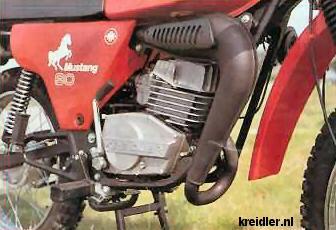 Het blok van de Mustang. De staande cilinder ontstond door de vraag van het publiek, die deze opstelling nu eenmaal mooier vindt.