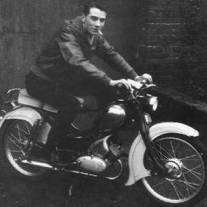 Peter on his bikes in the 50's