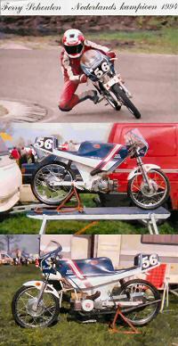 Ferry Schouten -Nederlands Kampioen 1994, racer gebaseerd op Puch Maxi en getuned door Claus.